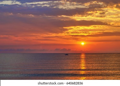 Sunrise on the Black Sea coast in a summer hot day, Bulgaria, Primorsko. BG