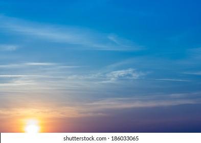 sunrise on blue sky.