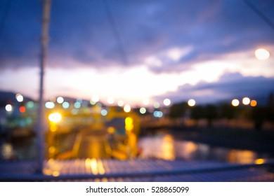 Sunrise on boat blurred