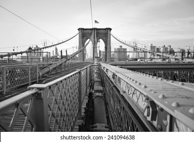 Sunrise on the Brooklyn Bridge.