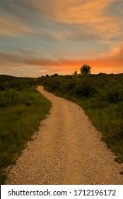 Sunrise on the Camino de Santiago through Navarra, Spain