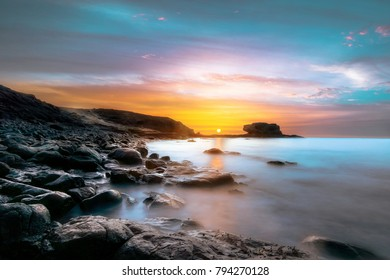 Sunrise on Canary Islands Spain at the beach of Tarajalejo Fuerteventura