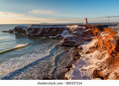 Sunrise on Cape Alright lighthouse, Magdalen Islands, Quebec