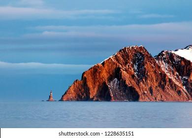 The sunrise on the cape Aniva, Sakhalin islan, Russia.