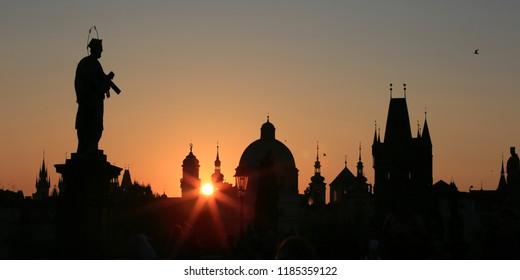 Sunrise on the Charles Bridge in Prague