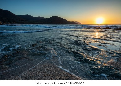 Sunrise on the coast of Isleta del Moro. Natural Park of Cabo de Gata. Andalucia. Spain.