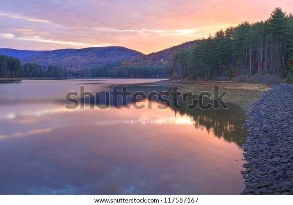 Sunrise on Cooper Lake Near Woodstock, NY