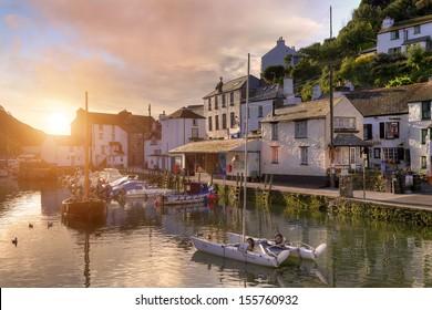 Sunrise on a Cornish fishing village, England