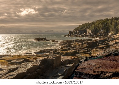 Sunrise on the eastern shore of Acadia National Park near Bar Harbor Maine