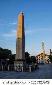 Sunrise on the Egyptian obelisk in the ancient site of the Hippodrome   in Istanbul, Turkey