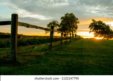 Sunrise on a farm at the top of a hill in Greene County, Ohio