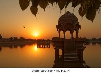 Sunrise on Gadsisar Lake in Jaisalmer