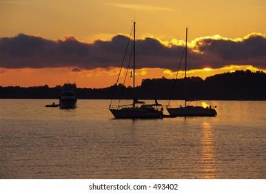 Sunrise on a Grand Traverse Bay in Michigan.