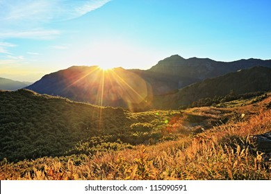 sunrise on the high mountain in Taroko National Park, Taiwan