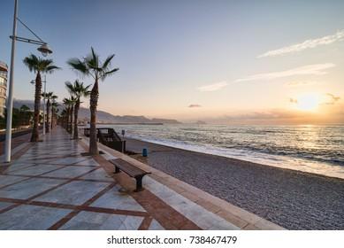 Sunrise on idyllic Altea resort bay, Costa Blanca, Alicante, Spain