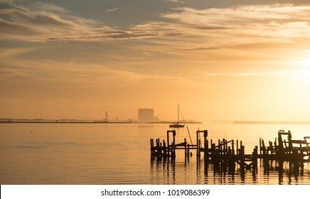 Sunrise on Indian River in Titusville, Florida.