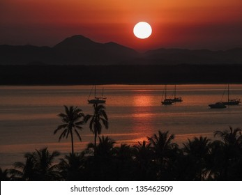 Sunrise on the lagoon at Barra de Navidad a popular tourist destination, Jalisco, Mexico's Pacific Coast.