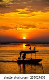 Sunrise on the lake with beautiful sky