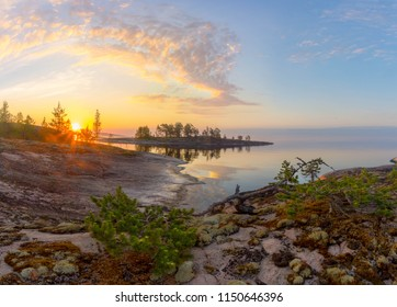 Sunrise on lake Ladoga. Karelia. Russia