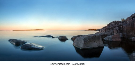 sunrise on lake Ladoga ,Karelia, Russia