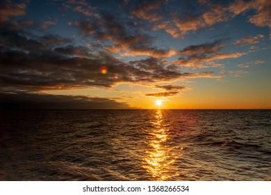 Sunrise on Lake Michigan in Port Washington, Wisconsin
