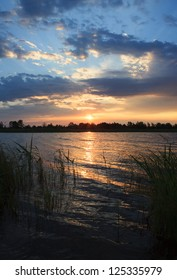 Sunrise on the lake. Omsk Region. Russia.