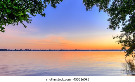 At sunrise on the lake shore  The lake is the popular Berlin Mueggelsee in Germany
