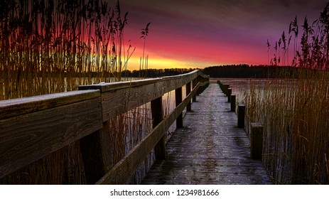 Sunrise on a lake at Skanderborg, Jutland, Denmark