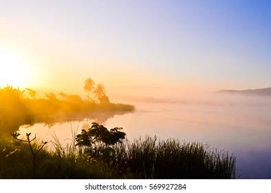 Sunrise on the lake at wangnahmyen