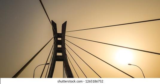 Sunrise on Lekki-Ikoyi Bridge, Lagos Nigeria. Cable Stayed Bridge, Transportation Infrastructure.