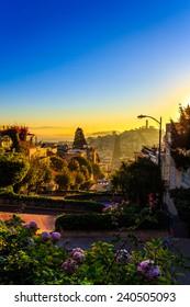 Sunrise on Lombard street on Russian hill, San Francisco, California