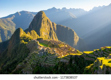 Sunrise on Machu Picchu, the lost city of inca