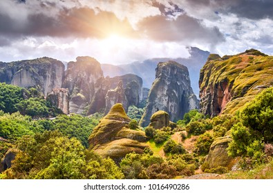 Sunrise on Meteora monasteries, Greece Kalambaka. UNESCO World Heritage site. Colorful spring landscape. Monastery of the Holy Trinity
