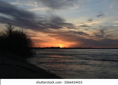 Sunrise on the Mississippi River in Memphis