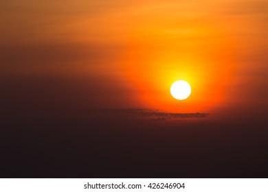 Sunrise on the morning.Sunrise with orange sky.Sunrise with colorful twilight.