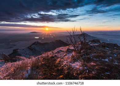 Sunrise on Mount Beshtau. A view of the Caucasus Mineral Waters, Pyatigorsk.