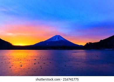 Sunrise on Mount Fuji and the frozen Lake Shojiko