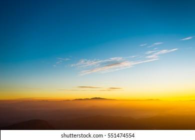 Sunrise on the mountain Adam's Peak in Sri Lanka. Beautiful landscape.