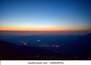 Sunrise on the Mountain chain Gran Sasso, Prati di Tivo, Teramo province, Abruzzo region, Italy