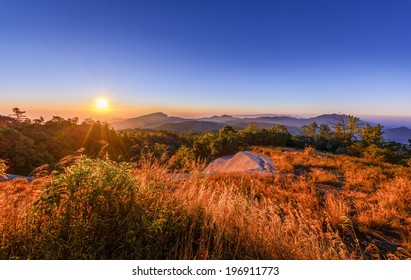 Sunrise on the mountain in Thailand