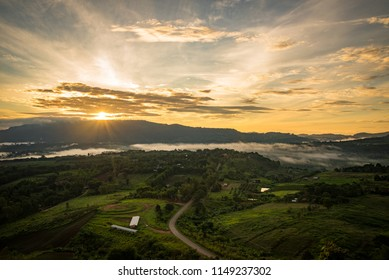 sunrise on the mountains and fog in the forest