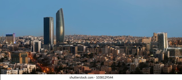 Sunrise on the new downtown of Amman city the capital of Jordan  - Modern buildings at Abdali area early morning
