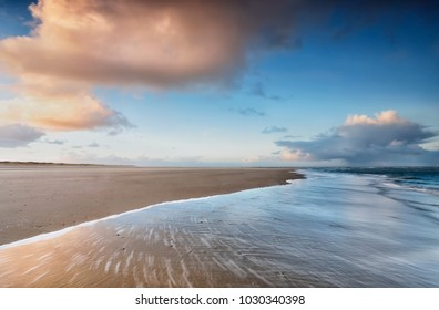 sunrise on North sea coast, Netherlands