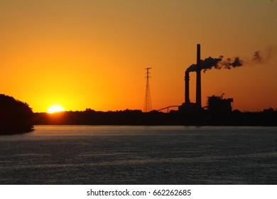 Sunrise on the Ohio River.