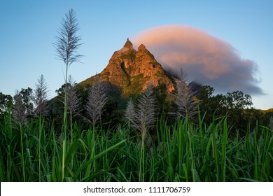 Sunrise on Peter Both Mountain in Mauritius Island. Ile Maurice, Indian Ocean.