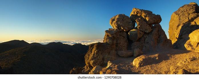 Sunrise on Pico de La Cruz, Caldera de Taburiente, Island of La Palma, Canary Islands, Spain
