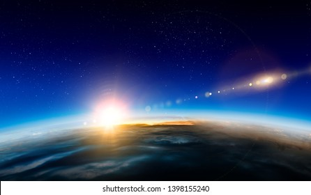 Sunrise on planet orbit, space beauty