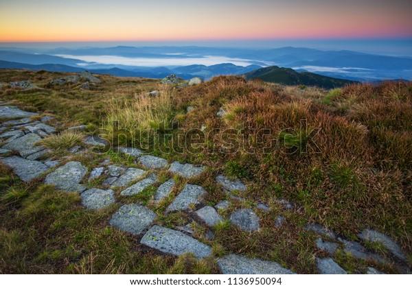 Sunrise on the ridge of the Low Tatras (Dumbier Peak - Slovakia)