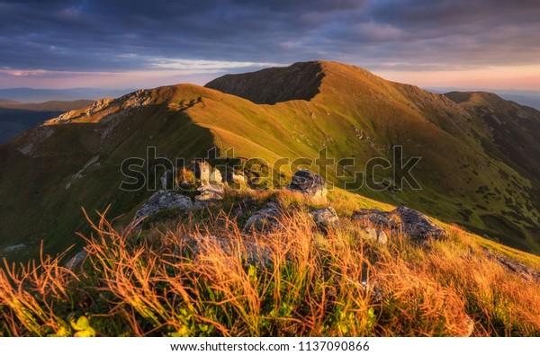 Sunrise on the ridge of the Low Tatras (Skalka Peak - Slovakia)