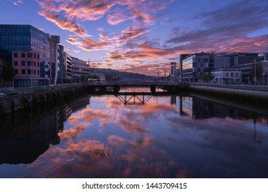 Sunrise on the River Lee in Cork City, Ireland.